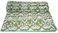 New Green Ikat Queen Kantha Quilt Bedspread Blanket Throw Indian Bedding