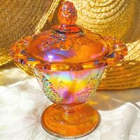 Vintage Indiana Carnival Glass Footed Bowl Marigold Harvest Grape Lace Rim USA