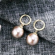 925 Sterling Silver With 18K Gold Filled 10mm Created Pearl Huggie Earrings