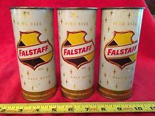 3 Vintage Falstaff Brewing King Size Half Quart Tall Flat Top Beer Can 16 Ounces