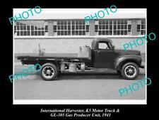 OLD HISTORIC PHOTO OF INTERNATIONAL HARVESTER K5 TRUCK & GAS PRODUCER c1941