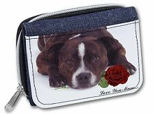 Staffie with Rose 'Love You Mum' Girls/Ladies Denim Purse Wallet , AD-SBT2RlymJW