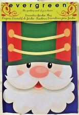 """Evergreen Garden Flag Suede Reflections Santa Claus Nutcracker 12.5"""" x 18"""" NIP"""