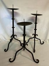 Set Of 3 Primitive Colonial Bronze Wrought Iron Used Candle Holders. 3 Sizes