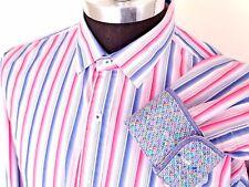 Bugatchi Uomo Shaped Fit Flip Cuff Shirt Size XL Bright Colorful Pink Blue Strip