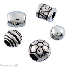 50PCs Gift Mixed Silver Tone Acrylic Spacers Charm Beads Fit Bracelet B04085