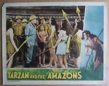 TARZAN AND THE AMAZONS~JOHNNY WEISSMULLER~ORIG 1945 LOBBY CARD~SHEFFIELD~G/VG a