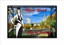 New York City Art Deco Style Metal Wall Plaque Vintage Deco Style Wall Sign
