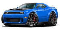 2019 Dodge Challenger HELLCAT Red Eye Wide Body Cartoon Car Wall Decal Graphics