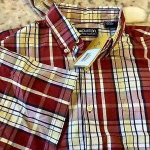 PURITAN RED CHECK SHIRT SHORT SLEEVES NEW Large , Wrinkle Resistant