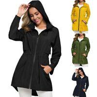 Fashion Women Solid Warm Faux Wool Jacket Waterproof Hooded Windproof Loose Coat