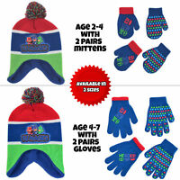 PJ Masks Hat and 2 Pair Mittens or Gloves Cold Weather Set, Little Boys, Age 2-7