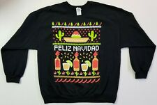 Men's Feliz Navidad Ugly Christmas Sweatshirt -  Multicolor / Black - Size XL