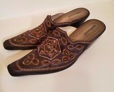 Dollhouse Brown Cowboy Style Mules adorned with Jewels & Beading Size 9