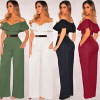 Sexy Women Ruffle Jumpsuit Romper Trousers Evening Cocktail Dress Party Clubwear