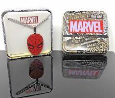 "Marvel Super Heroes Men's Stainless Steel Spider-Man Face Pendant, 22"" Chain"