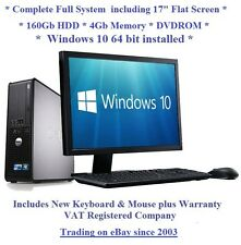 "Windows 10 Cheap Fast Dell Core 2 Full System 17"" Monitor Desktop Computer PC"
