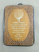 """D3 Golfers Prayer Small Wooden Plaque Sign Vintage Wall Decor Mens Gift Dad 7""""L"""