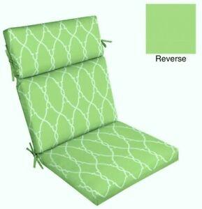 Outdoor Dining Chair Cushion ~ Elegant Trellis Green White ~ 21 x 44 x 4.25 NEW