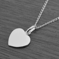 """Genuine 925 Sterling Silver Flat Heart Pendant Chain Necklace 18"""" Inches / 45cm"""