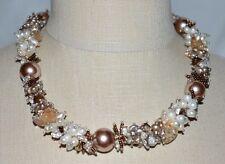 Faux Pearl Glass Statement Choker Necklace Vtg Silver Tone Heavy Metallic Brown