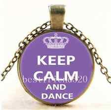 Vintage Keep Calm And Dance Cabochon Glass Bronze Chain Pendant Necklace
