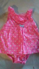 baby girl Carters onesie pink w/ white polka-dot  attached skirt 6 months