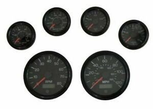 6 Gauge set black w/senders, Speedo,Tacho, Oil, Volt, Fuel, Temp gauges, 001BB-S