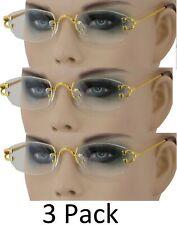 fc30e0e3f73 3 Pack   Combo Men Classy MODERN Style Clear Lens Gold Frame Rimless Glasses