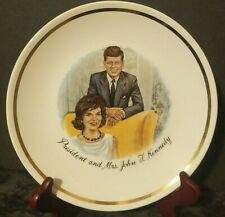 "Vintage President and Mrs. John F. Kennedy 1960s Collectors 9"" Plate Gold Rimmed"