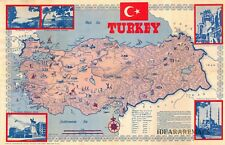 TURKEY - Original Rare LIAM DUNNE Pictorial illustrated Map - Constantinople
