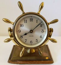 Antique Working 1940's CHELSEA Brass Ship's Wheel Nautical Porthole Desk Clock