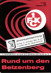 1. FC Kaiserslautern  - Rund um den Betzenberg - September 1984 - Heft 3/84