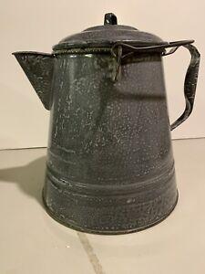 Large Vintage Mottled Gray Enamel Ware Graniteware Cowboy Coffee Pot Kettle EUC
