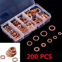 200pcs Copper Washers Flat Ring Sump Plug Oil Seal Gasket Assorted Set Hardware