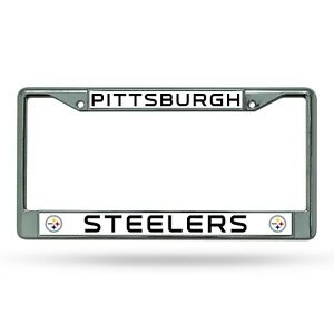 Pittsburgh Steelers WHITE Metal Chrome License Plate Frame Auto Truck Car