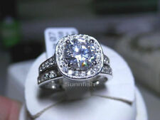 925 STERLING SILVER 2 RING HALO SIMULATED DIAMOND ENGAGEMENT WEDDING SET SZ 7.25