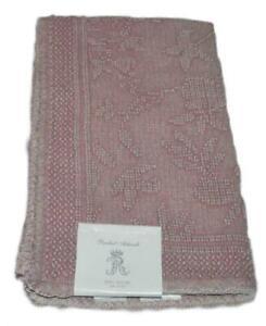 RACHEL ASHWELL COUTURE Crochet Blush Dark Pink Lace BATH MAT NWT