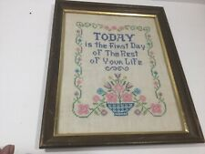 Vintage Framed Cross Stitch Sampler Inspirational Quote Flowers