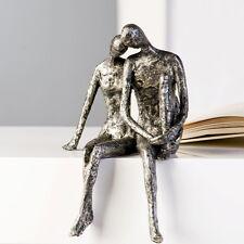 Skulptur COUPLE SILBER ANTIK H25cm Kantensitzer Liebespaar Paar Dekoration Figur