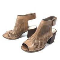 Vince Camuto Womens Brown Leather Open Toe Cut Out Ankle Strap Heels Size 6.5