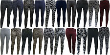NEW WOMENS LADIES SKINNY TAPERED SOFT STRETCH PRINTED PLAIN LEGGINGS TROUSERS