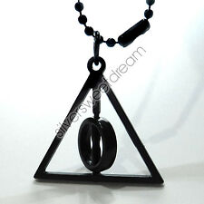 COLLANA CIONDOLO HARRY POTTER DONI DELLA MORTE DEATHLY HALLOWS NERO COSPLAY