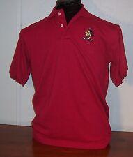 Disney Looney Classic Tweety Bird Mens Boys Red Polo Golf Cotton Shirt M