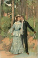 PFB Romance Couple Kissing in Woods c1910 Embossed Postcard