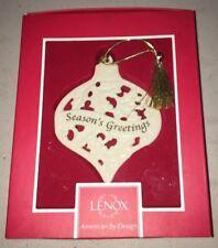 Nib Lenox Seasons Greetings Porcelain Christmas Ornament