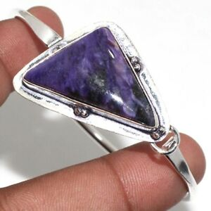 Charoite 925 Silver Plated Gemstone Handmade Adjustable Bangle Unique Gift GW