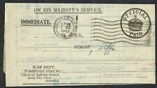 Suffolk PH 1943 US Army PO Sudbury OHMS Consignee Certificate for Goods by Rail