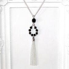 Vintage/flapper/Gatsby/1920's silver necklace with black crystal drop & tassel