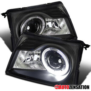 For 1998-2000 Ford Ranger Black LED Halo Rim Projector Headlights Lamps 1999